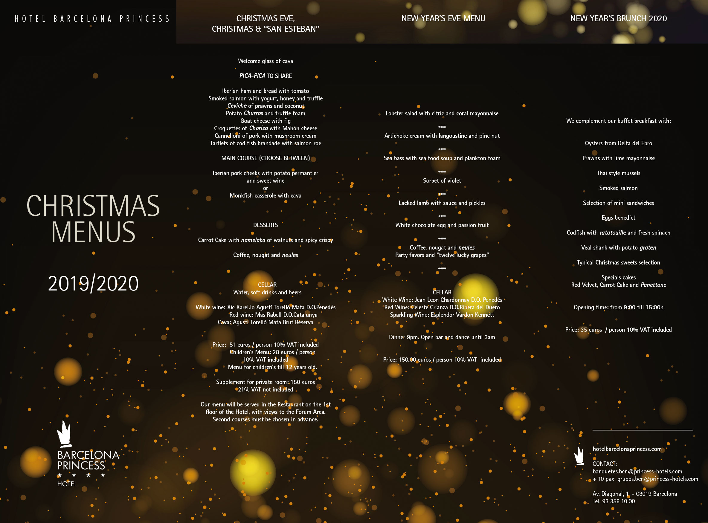 Christmas Menus Barcelona Princess Hotel