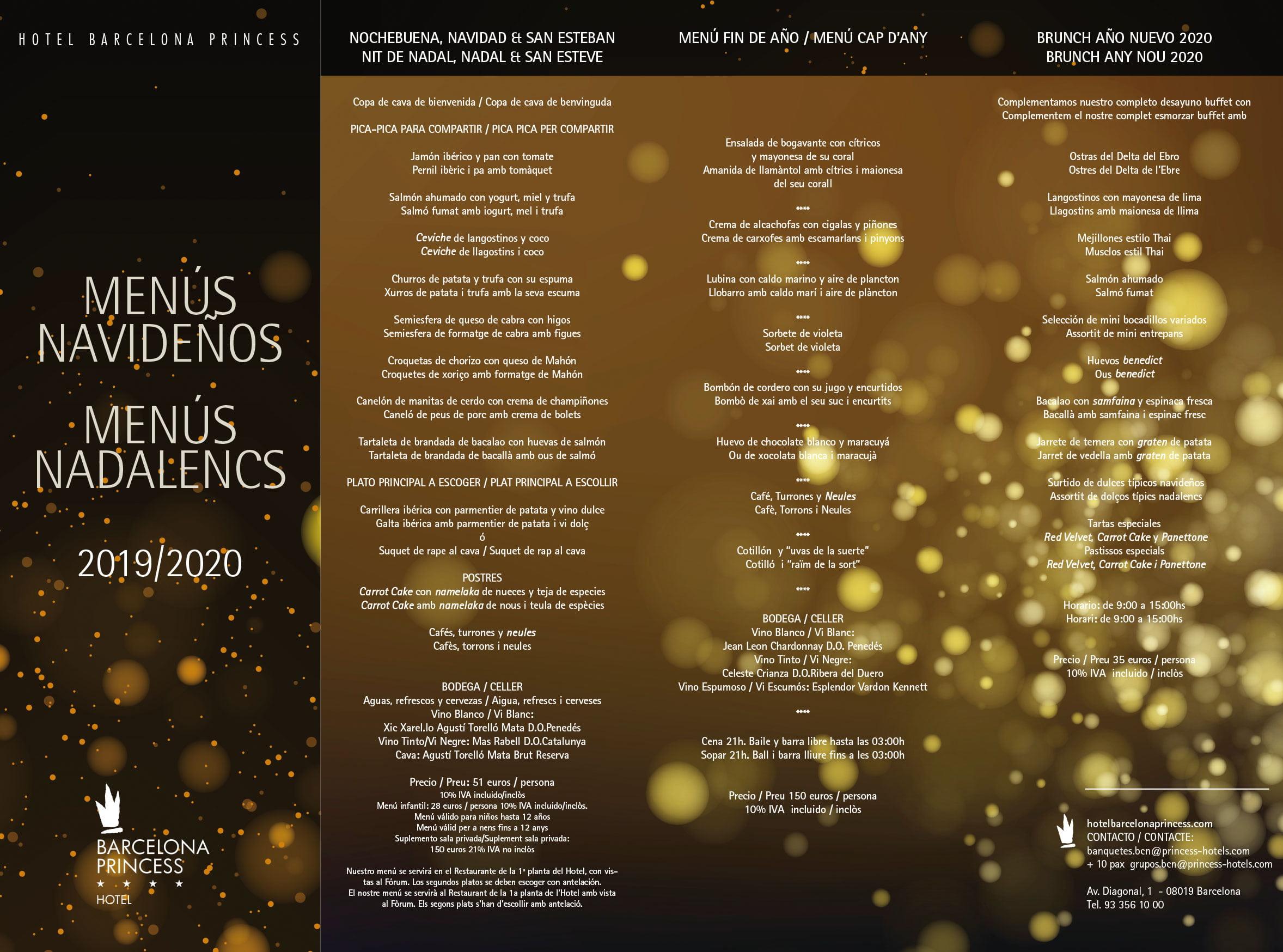 Menús Navideños 2019 Hotel Barcelona Princess